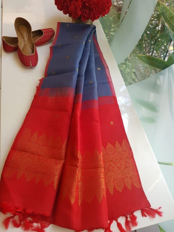 Grey with red Organza silk dupatta