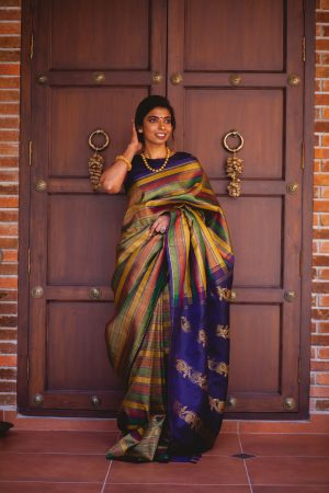Multicolour kanchi silk saree with navy blue pallu