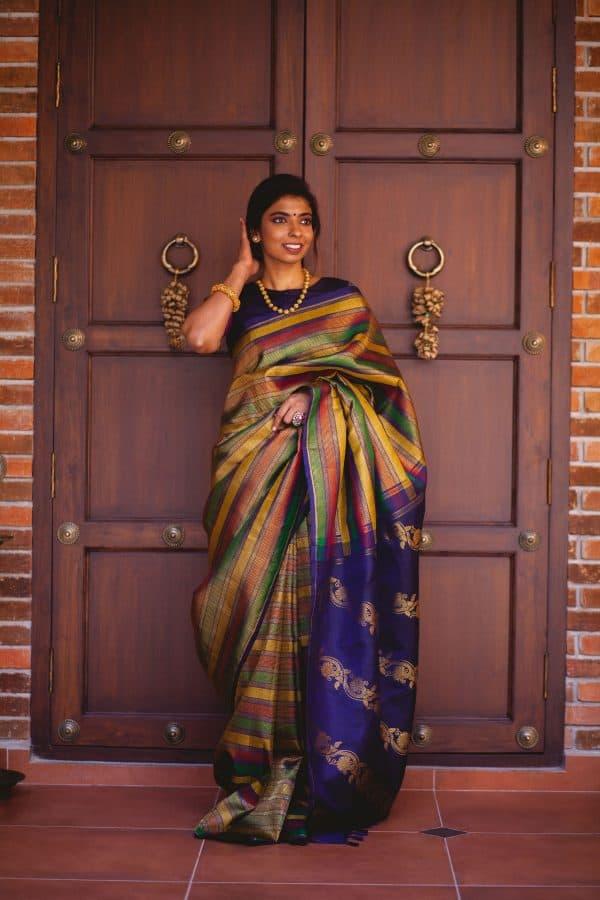 Multicolour kanchi silk saree with navy blue pallu