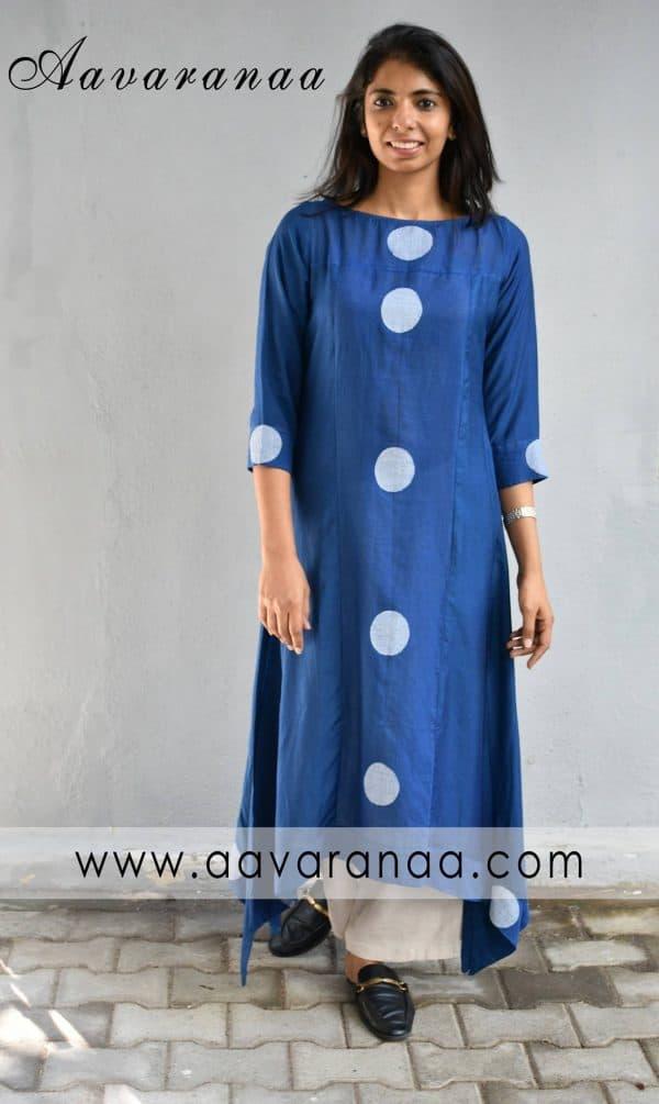 Indigo blue asymmetric cotton kurta