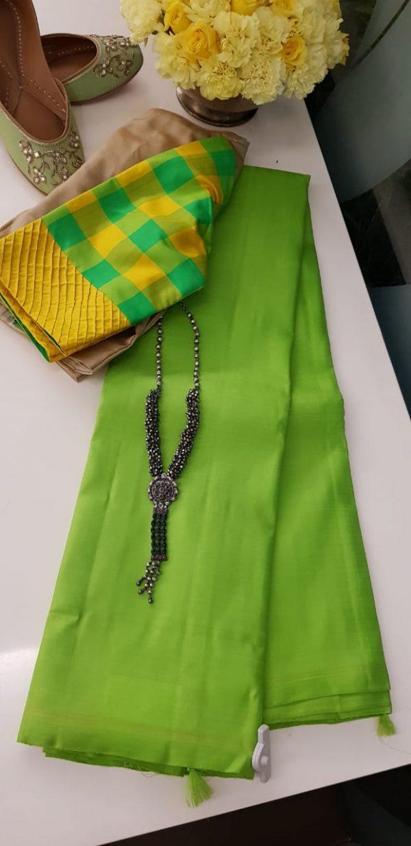 Lavanyam plain green kanchi silk saree