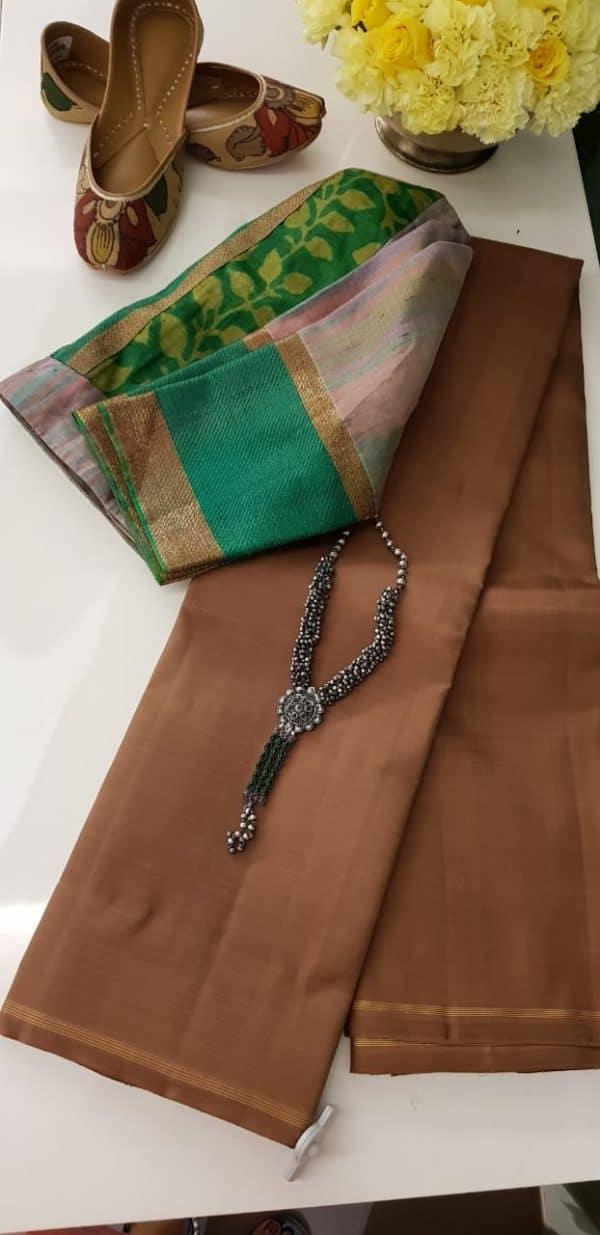 Lavanyam plain light brown kanchi silk saree