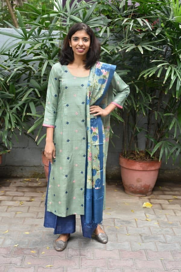 Light green cutch work embroidery tussar suit