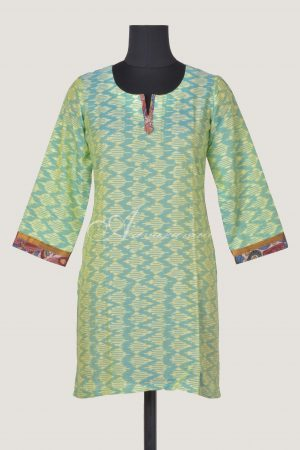 Light green ikat cotton short kurta