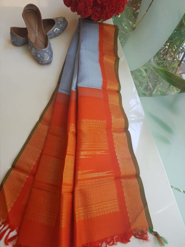 Light grey kanchi silk dupatta with orange border