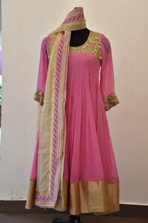Light pink chiffon embroidery anarkalli