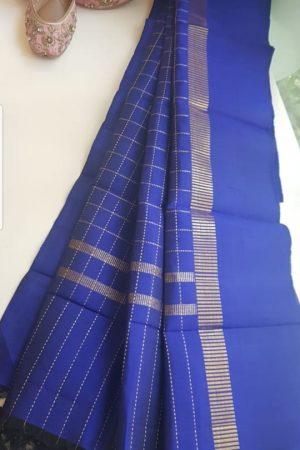 MS blue kanchi silk dupatta with zari checks