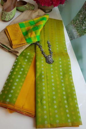 Multicolour gold and silver zari partly pallu kanchi silk saree