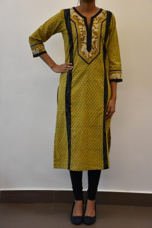 Mustard printed cotto kurta with black patches