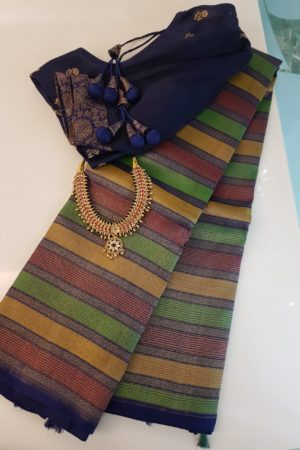 Navy blue , maroon and green horizontal lines kanchipuram silk saree