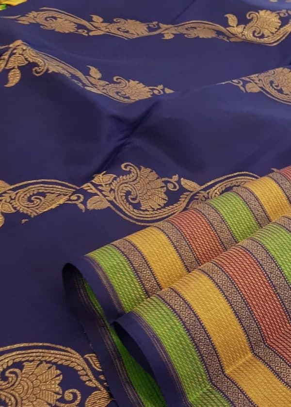 Navy blue , maroon and green horizontal lines kanchipuram silk saree pallu