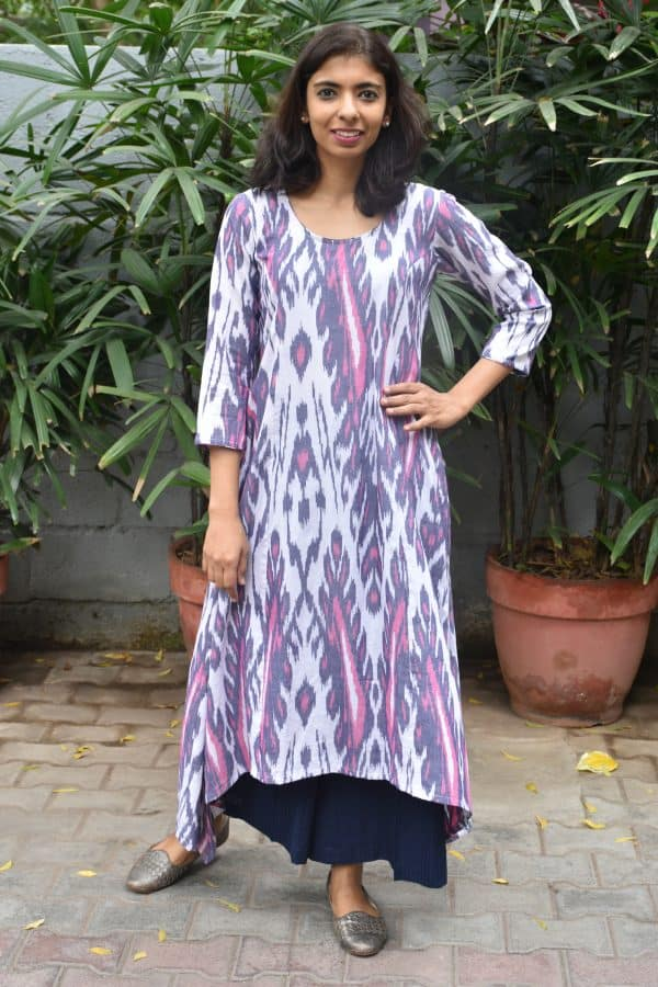 Off white and multicolor cotton ikat asymmetric kurta