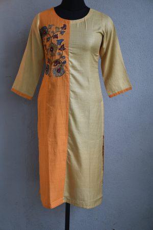 Orange and beige half an half kalamkari applique cotton kurta