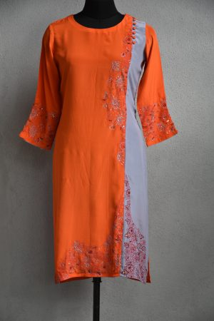 Orange and grey embroidery crepe kurta