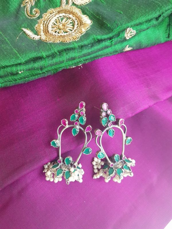 PINK AND green silver earring