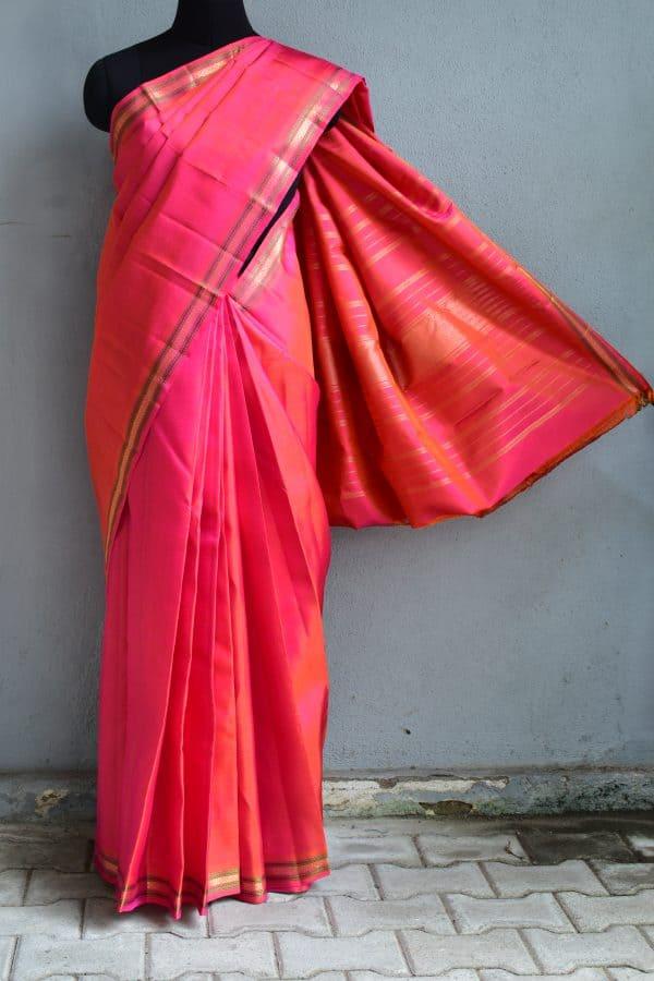Peach small border kanchi silk saree 1