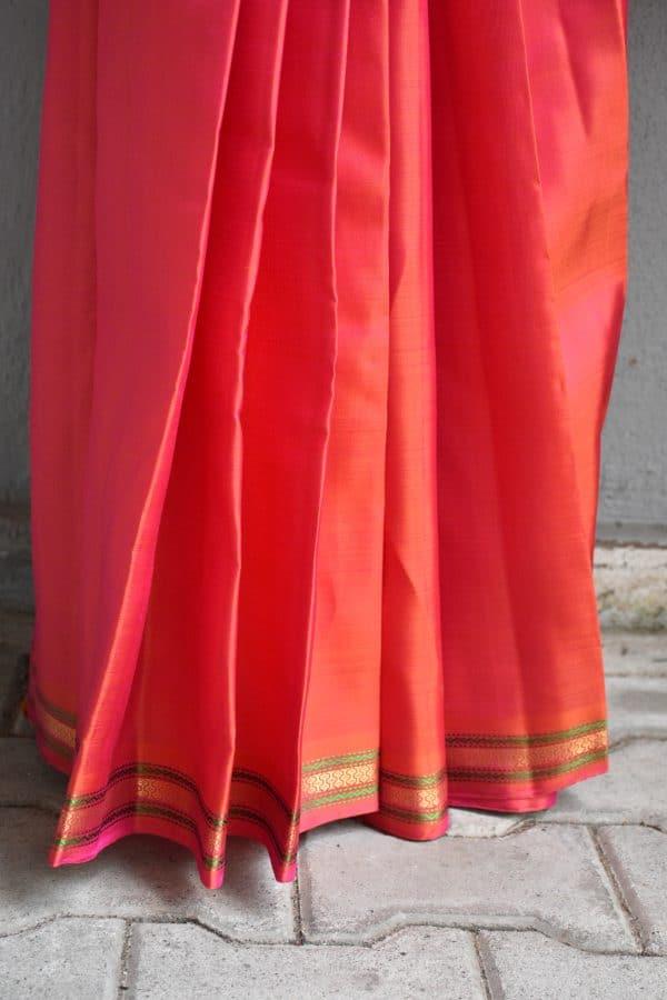 Peach small border kanchi silk saree 2