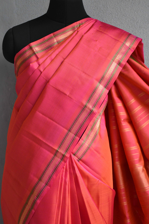Peach small border kanchi silk saree 3