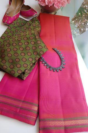 Peach small border kanchi silk saree