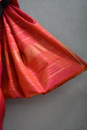 Peach small border kanchi silk saree 4