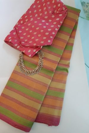 Peach , yellow and green horizontal lines kanchipuram silk saree