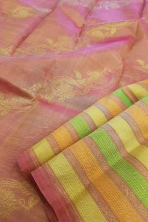 Peach , yellow and green horizontal lines kanchipuram silk saree pallu