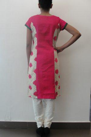 Pink and cream benaras suit1
