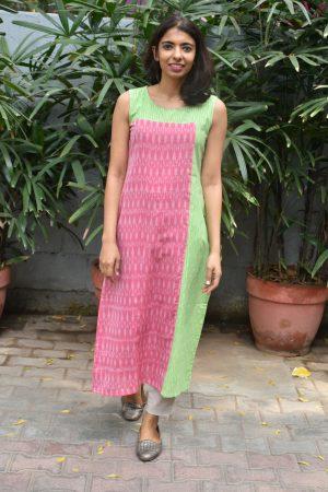 Pink and green ikat sleeveless cotton kurta
