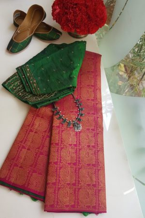Pink and green partly pallu kancheepuram silk saree