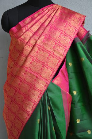 Pink and green partly pallu kancheepuram silk saree 2