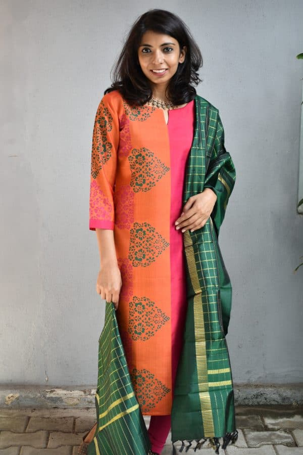 Pink and mustard kanchi silk kurta 1