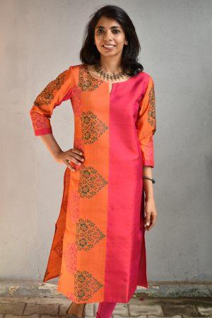 Pink and mustard kanchi silk kurta
