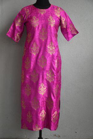 Pink benaras silk long kurta