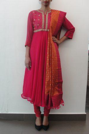 Pink chiffon with hand embroidered yoke anarkalli