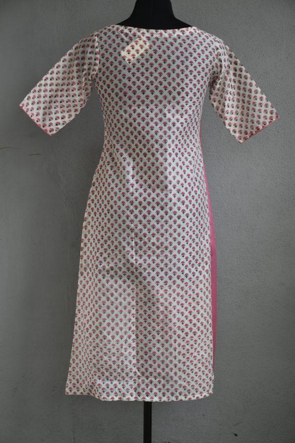 Pink chiffon with off white cotton printed chandheri aline kurta 1