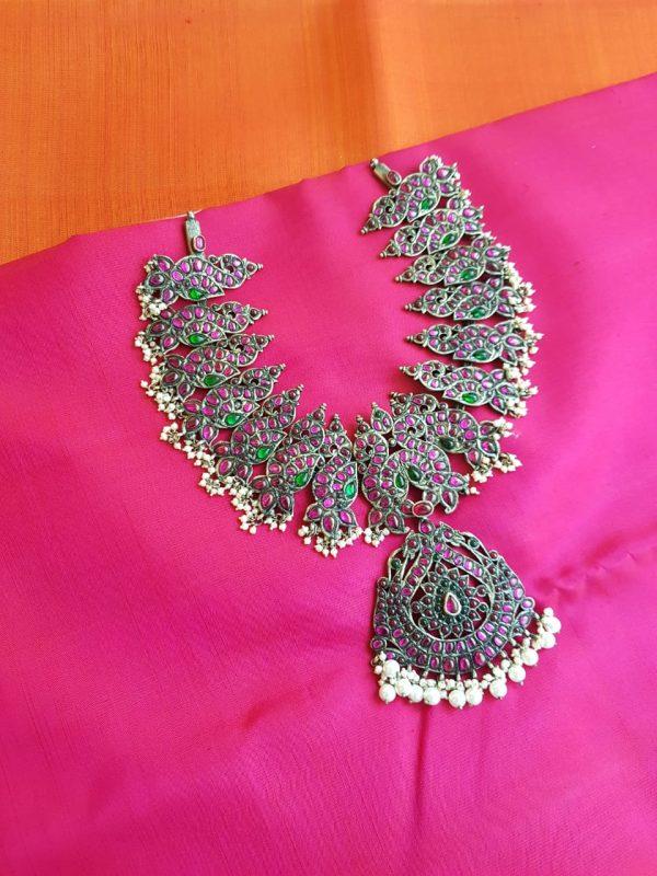 Pink heavy kemp necklace
