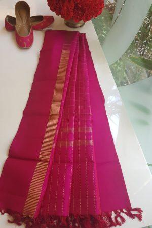Pink kanchi silk dupatta with zari checks