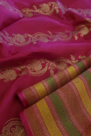 Pink , mustard and green horizontal lines kanchipuram silk saree pallu