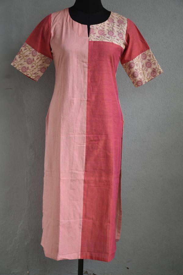 Pink stripes half an half cotton kurta