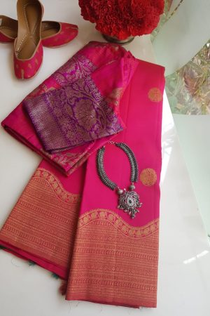Pink turning border kanchi silk saree