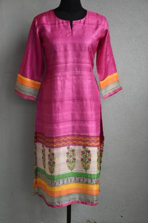 Pink tussar kurta with printed self border