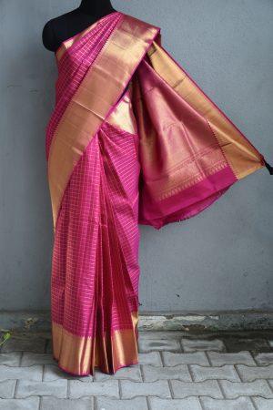 Pink zari checks kanchi silk saree 1