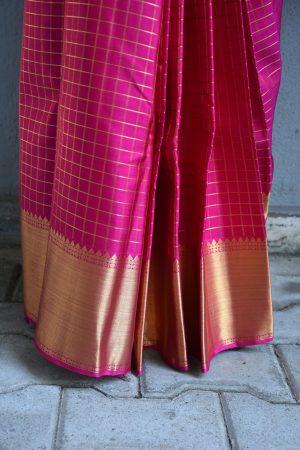 Pink zari checks kanchi silk saree 2
