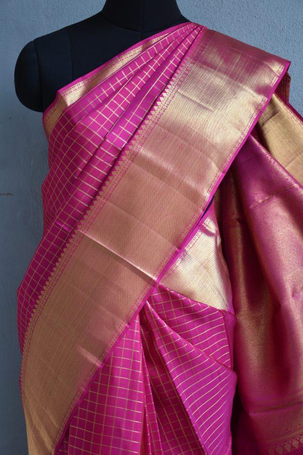 Pink zari checks kanchi silk saree 3