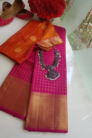 Pink zari checks kanchi silk saree