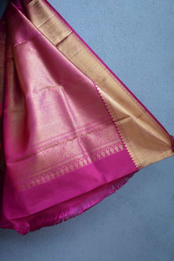 Pink zari checks kanchi silk saree 4
