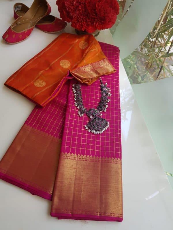 Pink zari checks kanchi silk saree