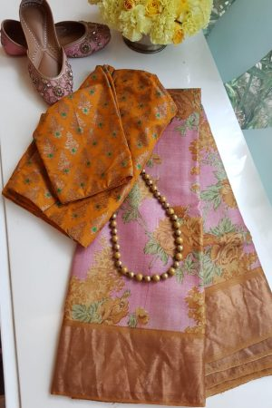 Pink zari tussar saree with yellow border