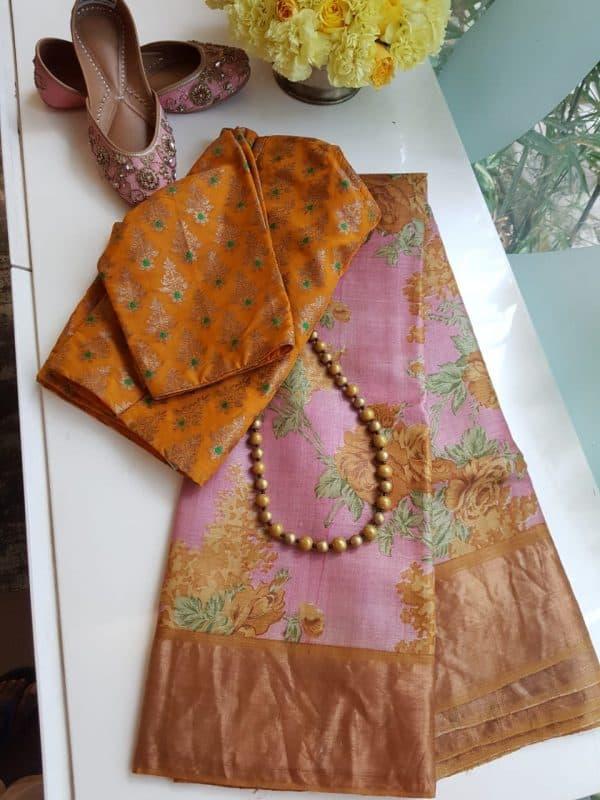 Pink zari tussar saree with yellow border