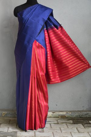Plain blue kanchi silk saree with pink rich pallu 1